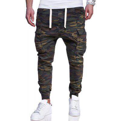 2018 New Men's Fashion Camouflage Printed Tether Belt Casual Feet Pants