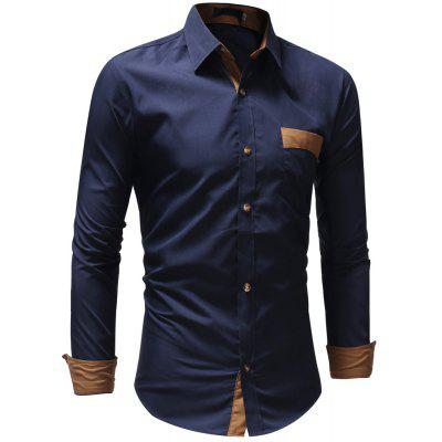 Men's Casual Fashion Solid Color Long Sleeve Shirt