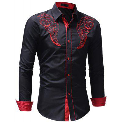 Men's Casual Slim Fit Chest Embroidered Long Sleeve Shirt