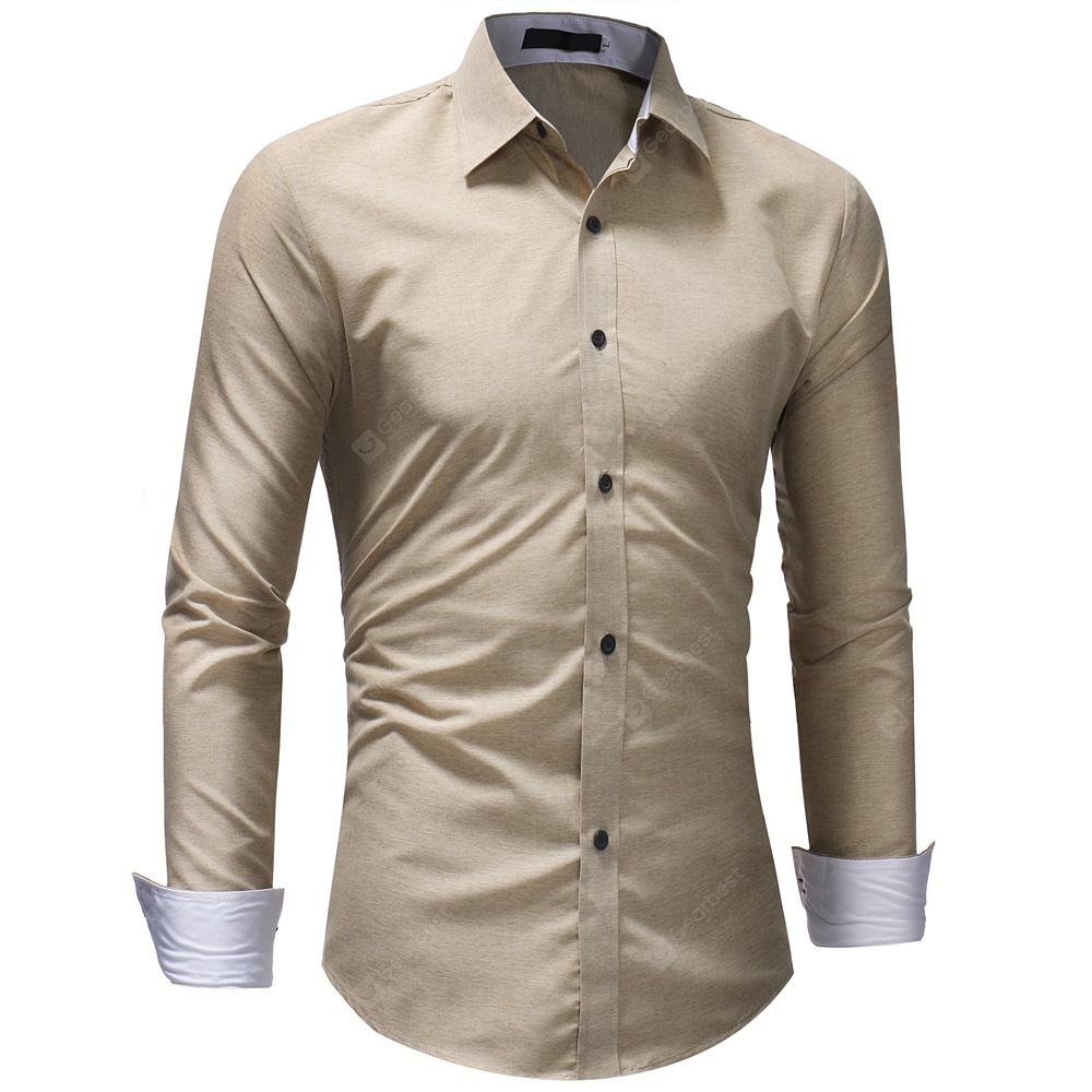 5a22dc3eb37 Men s Fashion Casual Solid Color Long-Sleeved Shirt -  22.30 Free ...