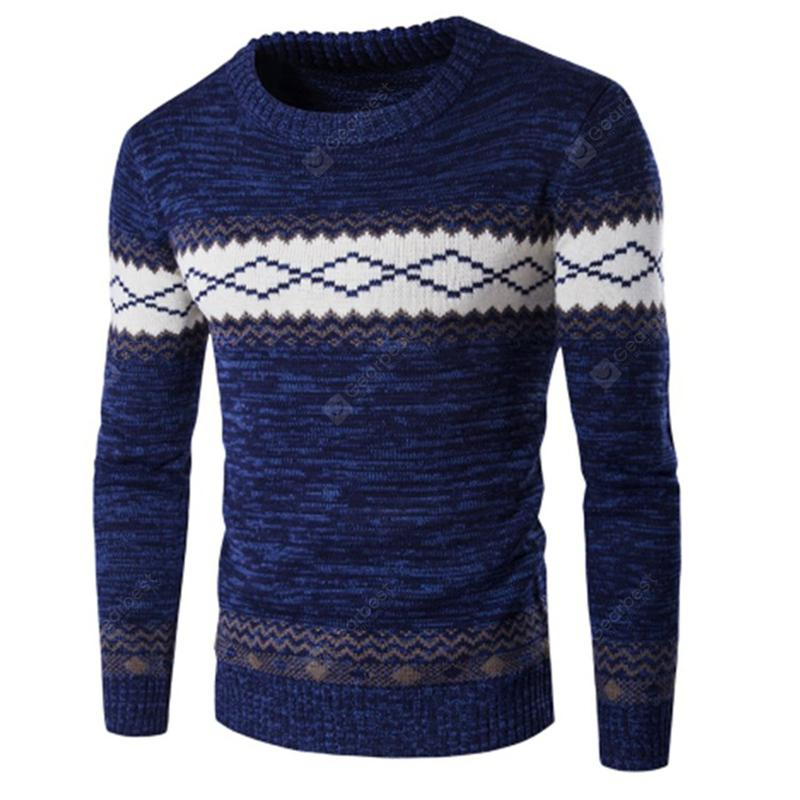 Men's Plaid Knit Crewneck Pullover Sweater