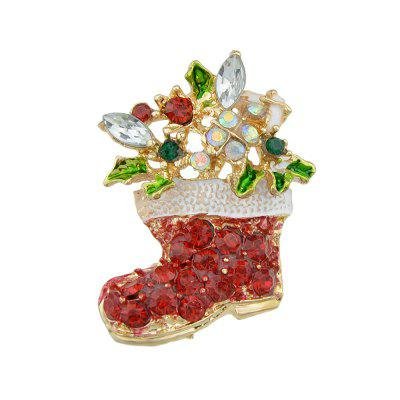 Christmas Colorful Rhinestone Boot Brooch