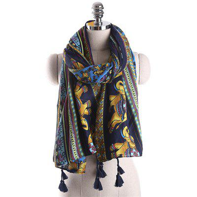 Autumn and Winter Ethnic Style Elephant Pattern Warm Scarf
