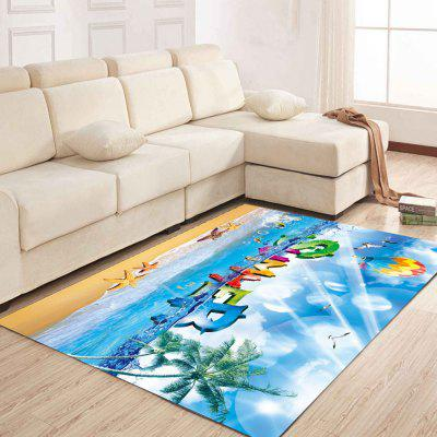 Simple North Europe Style Rug Blue Sky And Beach Pattern Floor simple north europe style rug blue sky and beach pattern floor