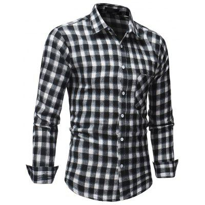 Men's Casual Slim Plaid Long Sleeve Shirt