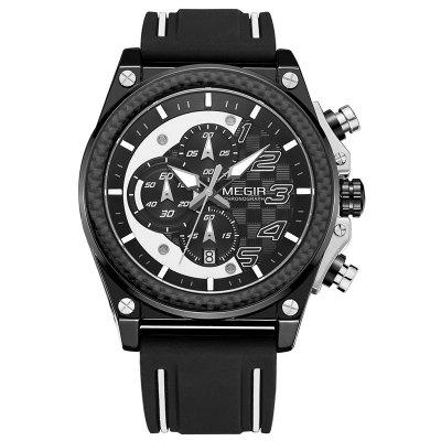 Megir Sports Business Men's Quartz Analog Chronograph Calendar Wristwatch