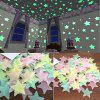 100pcs Fluorescent  Wall Stickers  Stars Decal Glow In The Dark Bedroom Home - YELLOW
