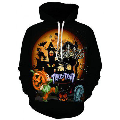 Men's Casual 3D Print Pumpkin Ghost Halloween Hoodie