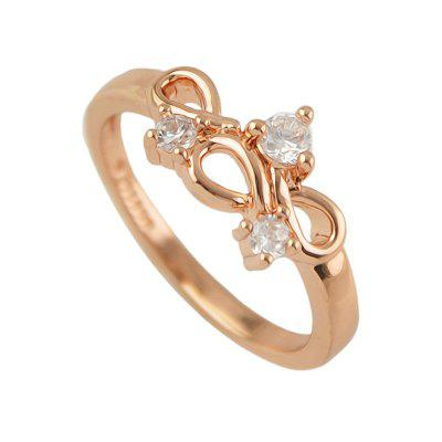 Delicate Alloy Hollow-out Zircon Finger Ring for Women