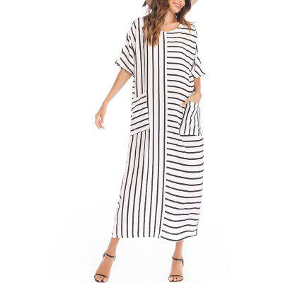 Stripe Rodada Collar Cotton Linen Loose Long Dress