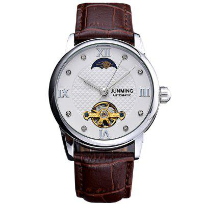JUNMING Men Hollow Engraving Leather Mechanical Watch