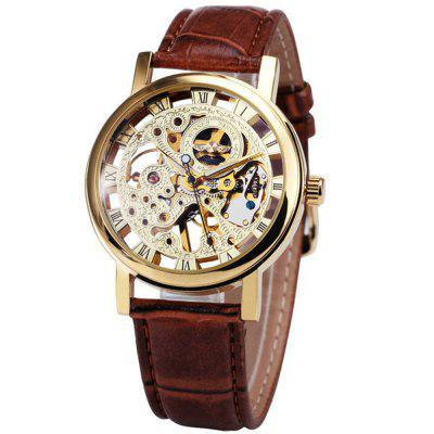 WINNER Men Casual Brown Leather Belt Manual Mechanical Watch