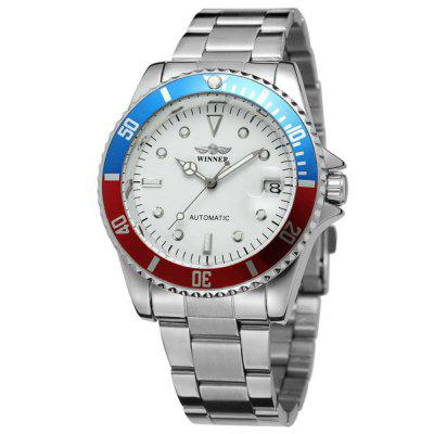 WINNER Men Fashion Date Shows Stainless Steel with Automatic Mechanical Watch