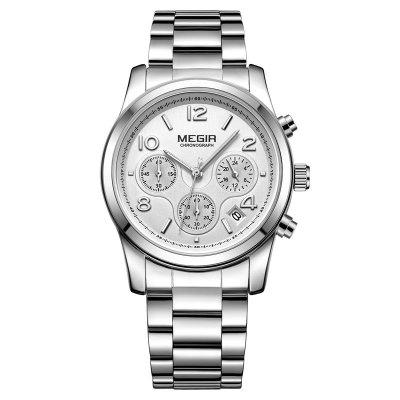 Megir Fashionable Woman Calendar Timing Stainless Steel Quartz Watch
