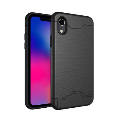 Case for iPhone XR Card Holder with Stand Back Cover Solid Color Hard PC