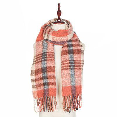 Autumn and Winter The New Lattice Tassel Imitation of Cashmere Scarf Shawl