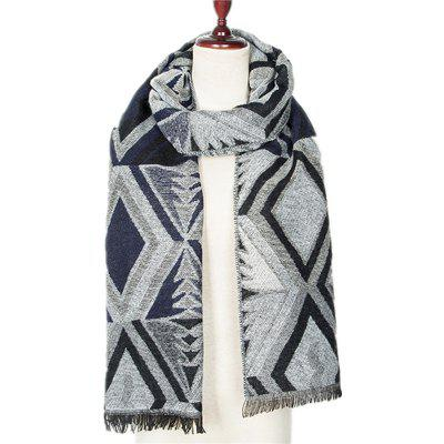 Fall and Winter Fashion Geometric Diamond Pattern Imitation Cashmere Scarf Shawl