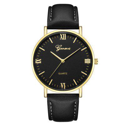 GENEVA Fashion Casual Large Large Simple Leather Quartz Sport Watch