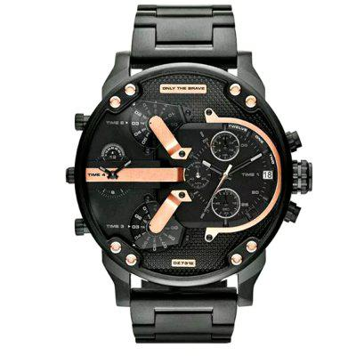 Men New Design Luxury Large Dial Dual Time Zones Analog Cool Dress Watch