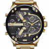 Men New Design Luxury Large Dial Dual Time Zones Analog Cool Dress Watch - GOLDEN BROWN