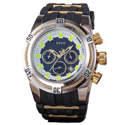 XSVO Men Luxury Creative Skeleton Large Dial Rubber Chronograph Military Watch