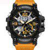 Fashion Mens New Design Dual Display Scuba Diver Sport Wrist Watch - BEE YELLOW