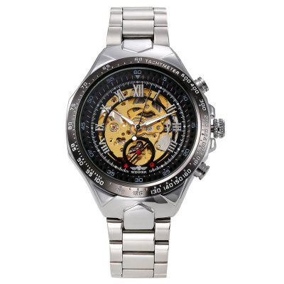 VENCEDOR Homens Sport Design Ouro e Prata Steel Band Automatic Mechanical Watch