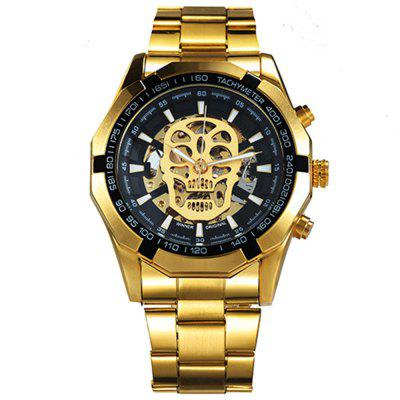 WINNER Men Fashion Skull Design Stainless Steel Automatic Mechanical Wristwatch