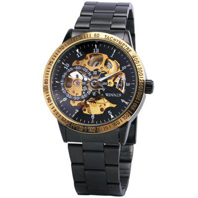WINNER Men Casual Black Silver Stainless Steel with Automatic Mechanical Watch
