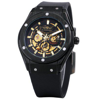 WINNER Men Fashion Personality Rubber Band Automatic Mechanical Watch