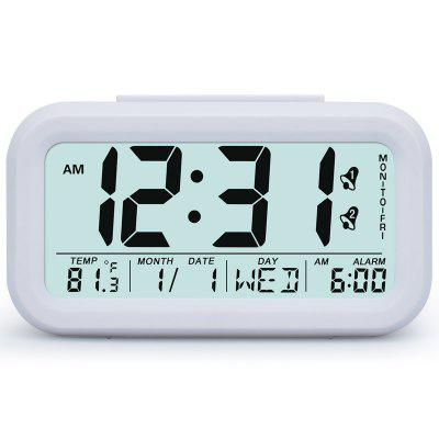 Smart Snooze Digital LCD Date Display Student Alarm Clock Sensor LED Night Light