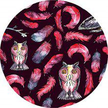 Round Anti Slip Gaming Red Owl and Feather Rubber Mouse Pad