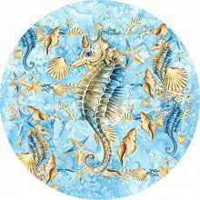 Round Anti Slip Gaming Blue Seahorse Rubber Mouse Pad