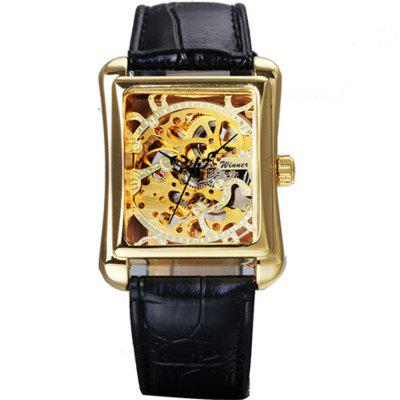 WINNER Men's Retro Casual Rectangular Hollow Automatic Mechanical Watch