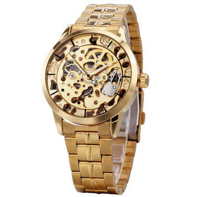 WINNER Man Hollow Stainless Steel Band Automatic Mechanical Watch