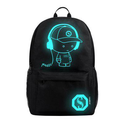 Anti-theft Student School Bag Anime Luminous USB Charge Laptop Computer Backpack
