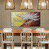 STYLEDECOR Modern Hand Painted White Flower Tree in Yellow and Brown Background - MULTI