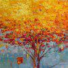 STYLEDECOR Modern Hand Painted Gold Tree Oil Painting on Canvas Wall Art - MULTI