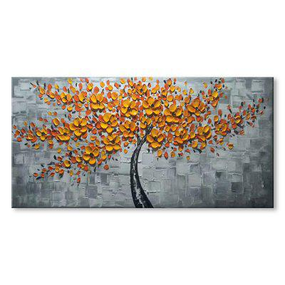 STYLEDECOR Modern Hand Painted Yellow Leaves in  Gray Background Oil Painting