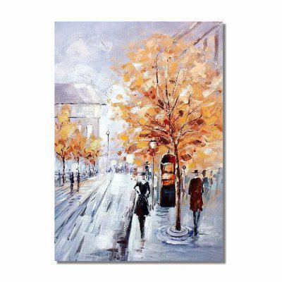 STYLEDECOR Modern Hand Painted Abstract Road in The Street Oil Painting Canvas