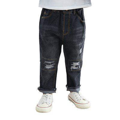 Boys' Holes Sanding Jeans Autumn Casual Trousers