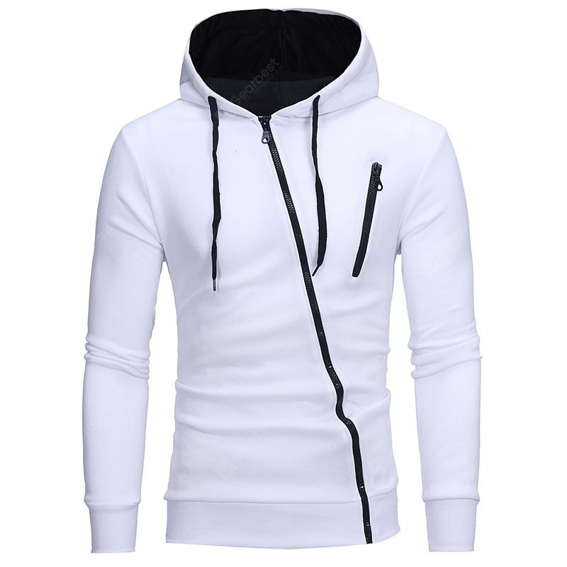 Gearbest Diagonal Zipper Men's Casual Slim Hooded Cardigan Sweater - WHITE XL