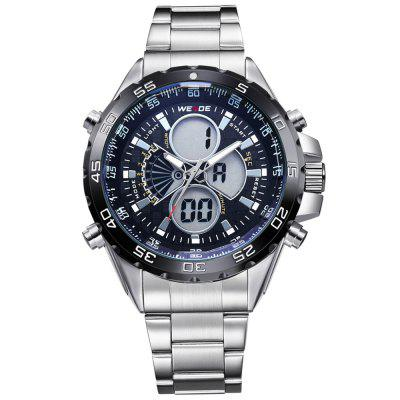 WEIDE Men Sport Alarm Date Stainless Steel Quartz Electronic Watch