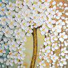 STYLEDECOR Modern Hand Painted The White Flowers Tree in The Blue Background - MULTI