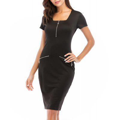 Women's Solid Color Square Collar Zippers Decoration Knee Length Pencil Dress