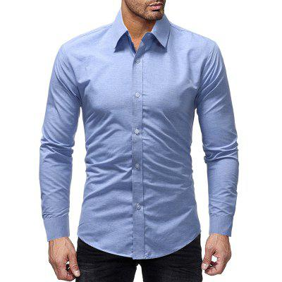 Color Cotton Fabric Men's Casual Slim Long-sleeved Shirt