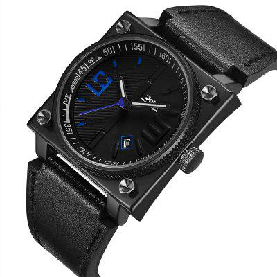Oulm1 HP8055 Military Square Leather Strap Sport Quartz Watch