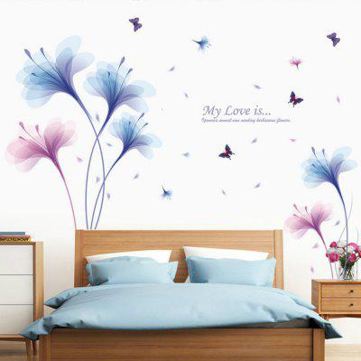 Beautiful Flowers Purple Jade Orchid Wall Stickers Home Decor