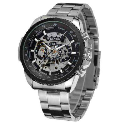 Купить WINNER Men Fashion Business Style Stainless Steel Automatic Mechanical Watch