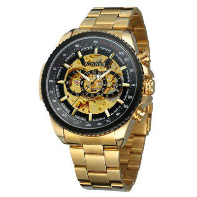 WINNER Men Fashion Business Style Stainless Steel Automatic Mechanical Watch